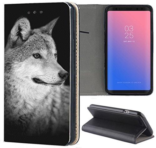 KX-Mobile Samsung Galaxy A81 Hülle - Handyhülle für Samsung Galaxy A81 - Handycover aus Kunstleder Motiv 1612 Wolf Schwarz Grau Schutzhülle Smart Klapphülle Hülle