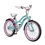 BIKESTAR Bicicleta para niños con sidestand y Accesorios para niños de 6 años | 20 Pulgadas Cruiser Edition | Menta y Rosa