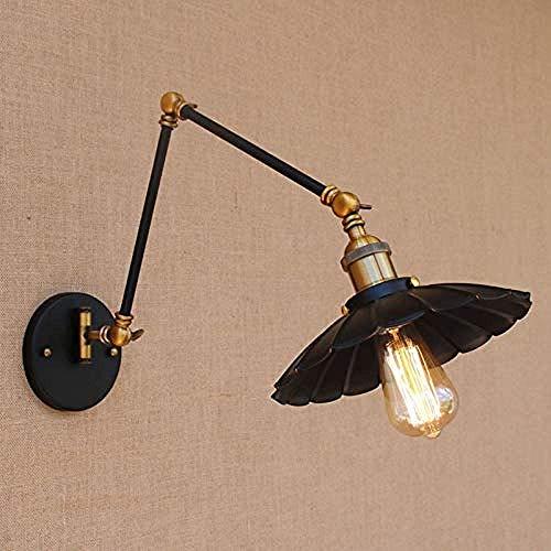 Meixian Loft Wandlamp, zwart, industrieel metaal, vintage, E27, lamp met verstelbare lange zwenkarm, voor werkkamer, nachtkastje, slaapkamerbar, eenvoudig retro