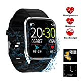 Litake Smart Watch Fitness Tracker,HD Color Screen 116 Pro Smart Wristband Fitness Bracelet Blood Pressure Heart Rate Monitor,Black