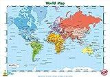 Little Wigwam Póster educativo del mapa del mundo 'No Tear Guarantee' (60 x 42 cm)