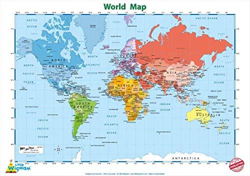 """Little Wigwam Póster educativo del mapa del mundo """"No Tear Guarantee"""" (60 x 42 cm)"""