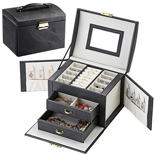 LATIT Jewellery Box Organiser Three Layers PU Leather Jewelry Storage Case for Rings Earrings Necklace Bracelets Faux Leather Jewelry Gift Box Girls Women (black)