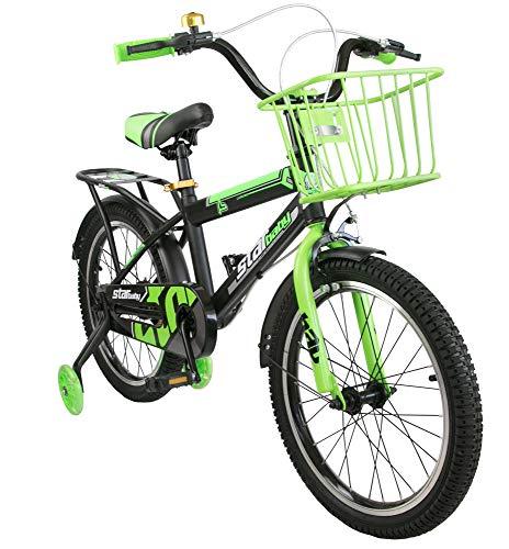 Airel Biciclette per Bambini | Bicicletta con Rotelle e Cestino | Bici Bimbo | Bicicletta per Bambini 16 e 18 Pollici | Bicicletta per Bambini 4-7 Anni | Colore: Verde Pollici: 18