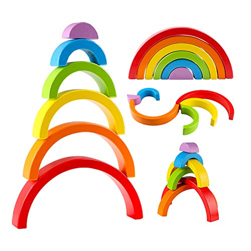 Joqutoys Rainbow Stacker Wooden Rainbow Stacking Toy for Kids, Wooden Rainbow Nesting Puzzle Blocks, Educational Building Blocks for Boys Girls Gifts