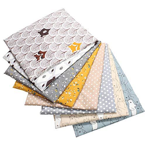 KLOP256 Tela de patchwork, 8 piezas/set de tela de algodón para coser, hecha a mano con estampado floral