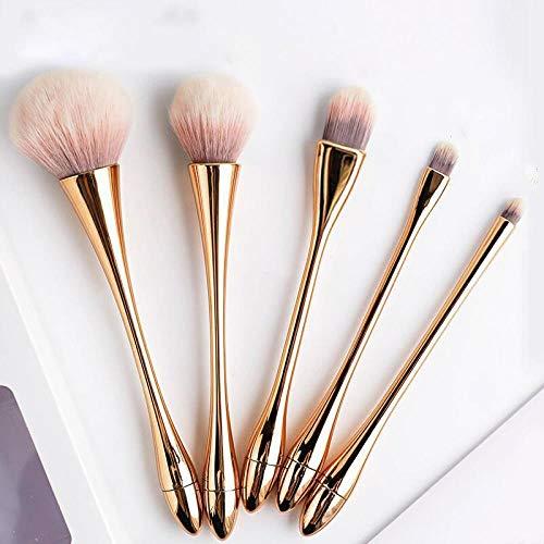 Poudre De Fard À Joues Poudre De Maquillage Pinceau De Surbrillance Compact Pinceau De Maquillage, 5 Pièces D'Or