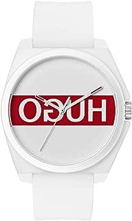 Hugo Men's #Play Quartz TR90 and Rubber Strap Casual Watch, Color: White (Model: 1520013)