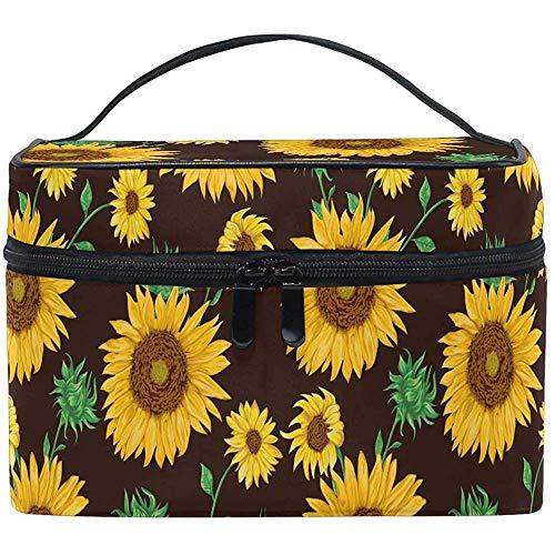 Sunflowers Cosmetic Bag Sunflowers Makeup Bag Travel Cosmetic Brush Bag Storage Organizer