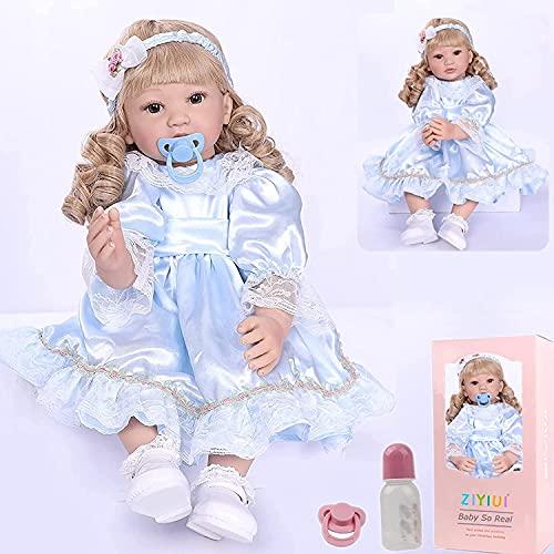 ZIYIUI Poupée Reborn 22 Pouces 55 cm Réaliste Bebe Reborn Fille Silicone Souple Vinyle Reborn Dolls Garçon Fille Jouets Bébé Reborn Pas Cher Cadeau de Noël