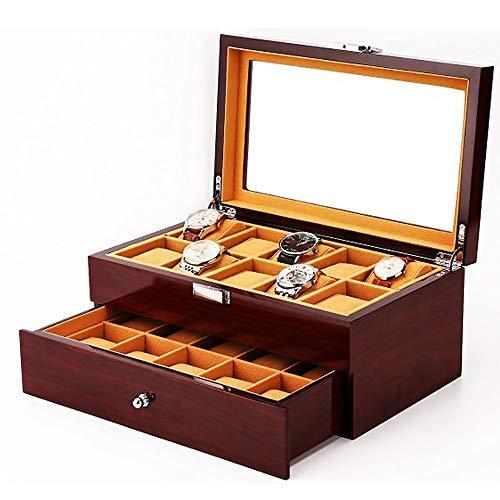 AXROAD MALL AXROAD MALL Vintage Holz Transparent Glas Top Double-Layer Uhrenbox Display Aufbewahrungsbox bietet Platz for 20 Uhren
