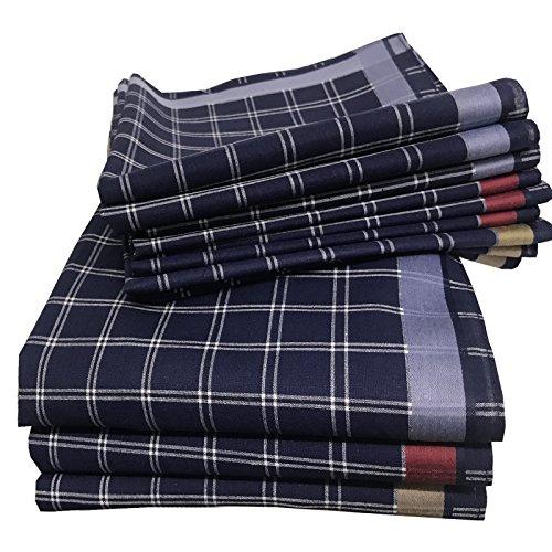 JEMIDI Stofftaschentücher Herren und Damen Baumwolle 12er Pack Stoff Taschentücher 100% Baumwolle Herrentaschentücher Stofftaschentuch in unterschiedlichen Designs, Design 2, 40cm x 40cm