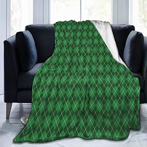 SURERUIM Soft Fleece Überwurfdecke,Irischer Weinlese-Argyle-Tartan-Druck,Home Hotel Bed Couch Sofa Überwurfdecken für Paare Kinder Erwachsene,100x120cm