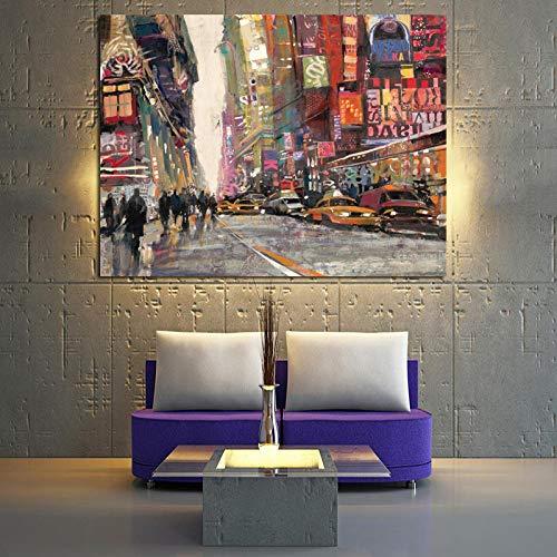Europa Stadt Straße Leinwand Kunst Poster drucken Landschaftsmalerei auf Leinwand Wandbild für Wohnzimmer ohne Rahmen