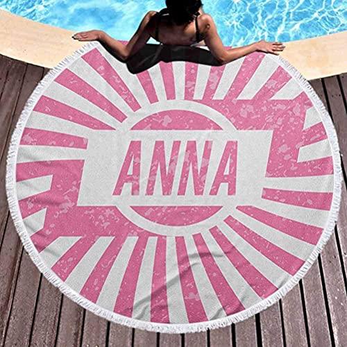 Toalla de playa al aire libre de secado rápido Anna Toalla de playa de gran tamaño Estilo retro Diseño de nombre para niñas con fondo de rayas y apariencia grunge Toallas Manta para viaje Piscina Bate
