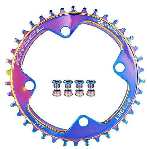 32T 34T 36T 38T Plato de bicicleta de una sola velocidad Dientes positivos y negativos 104BCD Bicicleta ultraligera con pernos de plato para la mayoría de bicicletas de carretera MTB BMX (38T)