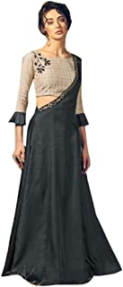 Black Cotton Stylish Indian Casual Formal Occasion Long Dress Muslim Kaftaan Hizaab Suit Set 903/E