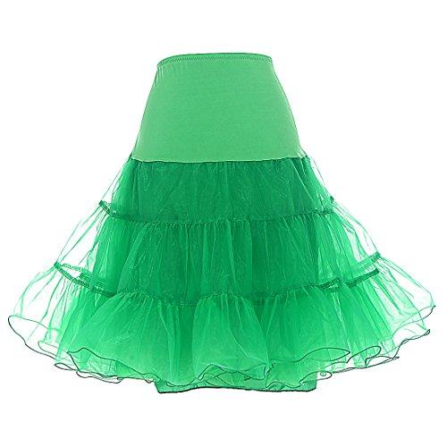 Dresstells DRESSTELLS Damen 1950er Vintage Rock Rockabilly Petticoat Reifrock Unterrock für Rockabilly Kleid Green S