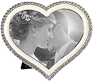 Roman 19638 The The Caroline Collection Heart Shaped Photo Frame with Crystals. Made of Lead Free Zinc Alloy.