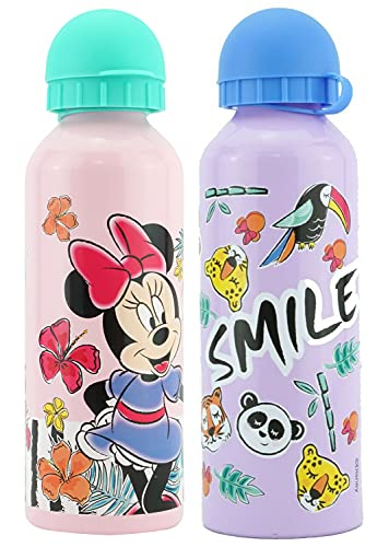 HOVUK 2Pcs 500ml Minnie Mouse Aluminum Water Bottle Set for Kids in Pink and Light Purple Colour, Leak-Proof Travel Bottle with Security Spout and Cap, Best for School & Sports