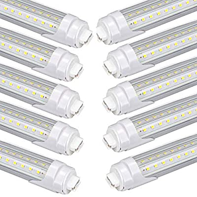 4Foot T8 LED Tube Lights 36W ,R17d Base ,T10 T12 Light Bulbs Replacement F48T12,F48T10, Dual End Ballast Bypass, Clear Lens,White for Garage,Store,Shop Pack of 10