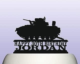 Personalised Acrylic Army Armoured Mechanized Fighting Vehicle Birthday Cake Topper Decoration