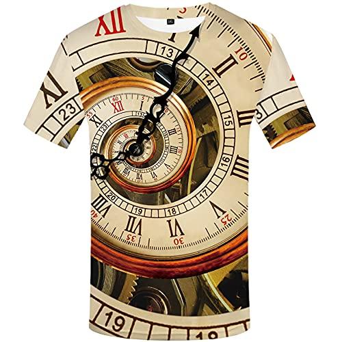 WBYFDC Camiseta Unisex 3D De Manga Corta con Reloj para Hombre Cuello Redondo Estampado De Tiempo Camisetas De Verano Personalizadas De Estilo Callejero para Hombre