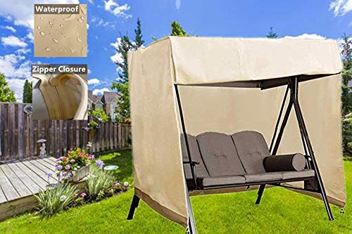 Outdoor Swing Covers Patio Garden Hammock Glider Cover Durable Waterproof UV Resistant Weather Protector (Beige)