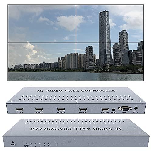 ISEEVY 4K Video Wall Controller 2x2 1x2 2x1 1x3 3x1 1x4 4x1 Video Wall Processor Support 3840x2160@30 HDMI inputs for 4 TV Splicing