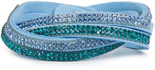 styleBREAKER weiches Strass Armband, eleganter Armschmuck mit Strassteinen, Wickelarmband, 2x2-Reihig, Damen 05040004, Farbe:Hellblau/Hellblau-Petrol