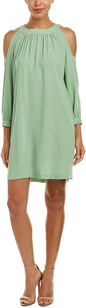 NINE WEST Women's Three Quarter Sleeve Cold Shoulder Shift Dress Dress, Sprout, 4