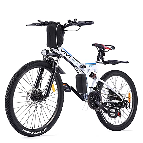 """VIVI Folding Electric Bike Electric Mountain Bike 26"""" Lightweight Electric Bicycle 350W Ebike, Electric Bike for Adults with Removable 8Ah Lithium Battery,Professional 21 Speed Gears (8AH White&Blue)"""