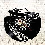 GYJCD Classic Vintage Retro Car con Road Mark Wall Art Reloj De Pared Deportes Automóvil Racecar Vinyl Record Reloj De Pared Amantes del Automóvil Regalo