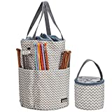 HOMEST XL Yarn Storage Tote, Tangle Free with 6 Oversized Grommets, Knitting and Crochet Organizer, Large Craft Supplies Bag with Drawstring Closure, Ripple (Patent Design)