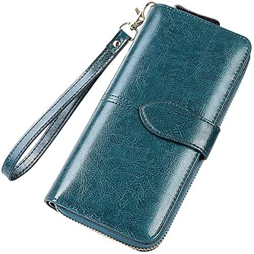 YXLYLL Billetera de cuero de las mujeres Moda Teléfono móvil Billetera larga de las señoras Billetera de cuero con cremallera