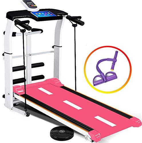 Home loopband Kleine mechanische loopmachine voor binnen Opvouwbare multifunctionele goedkope fitnessapparatuur Dragende 150kg Hoogwaardig staal, sterk en duurzaam,Pink