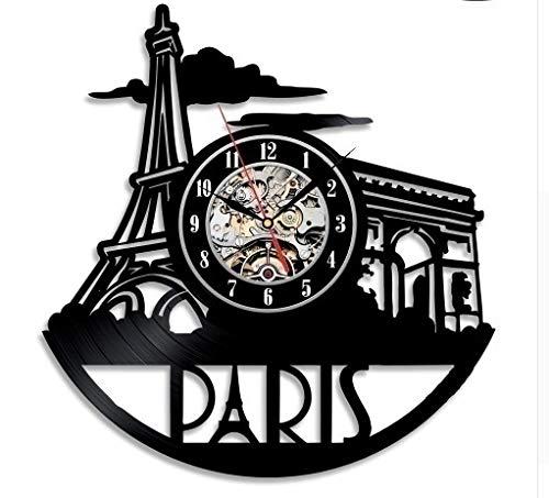CHENWN France Paris City Vinyl Record Wandklok, Uniek Design Cadeau voor Vrienden, Huis en Kamer Decoratie Handgemaakte Kunst