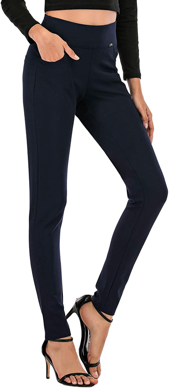 neezeelee Dress Pants for Women Comfort High Waist Skinny Stretch Slim Fit Leg Easy into Pull on Ponte Pants for Work