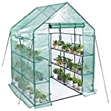 """Greenhouse,Mini Greenhouse Indoor&Outdoor with PE Cover,3 Tiers 8 Shelves Stands Greenhouse,Include Windows,Anchors and Roll-Up Zipper Door,Portable Plant Gardening Greenhouse(56""""×56""""×76"""")"""