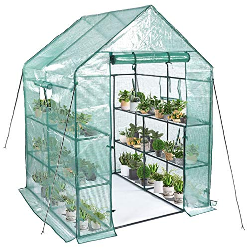 Greenhouse,Mini Greenhouse Indoor&Outdoor with PE Cover,3 Tiers 8 Shelves Stands...