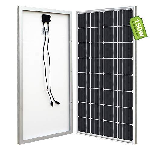 ECO-WORTHY - Panel solar (100 W, 12 V), 150W solar panel, Negro, 1
