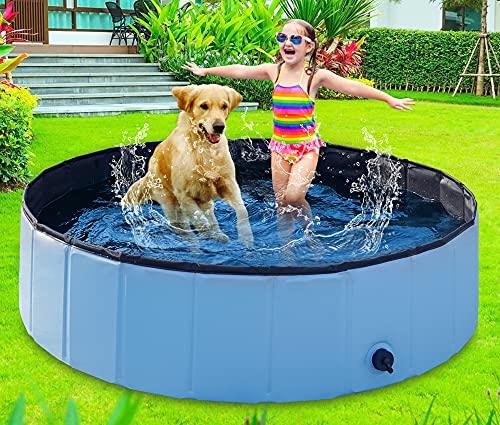BIBIEN Hundepool Faltbar, Hundeplanschbecken Badewanne Hund Haustier Badewanne Dicker Kiddie Pool für Hunde & Katzen Rutschfest Faltbarer Haustierpool für Outdoor & Indoo