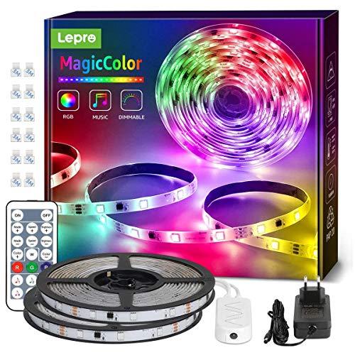 Lepro LED Strip 10M(2x5M), LED Streifen Lichterkette MagicColor Musik mit Fernbedienung, Band Lichter Wasserdicht IP65, RGB Dimmbar Lichtleiste Light, Lichtband Leiste Kette für Weihnachten Deko