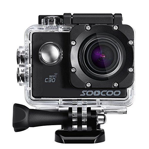 MDTEK@16GB TF Card+ Original SOOCOO C30 HD 4K WiFi Action Camera 2.0 inch Screen 170 Degree Wide Angle Voice Prompt Loop Cycle Recording Motion Detection(Black)