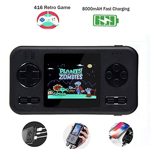 Peedeu Handheld Game Console,Retro Game Console Power Bank, 2.8 Inch Color Screen, Built-in 8000mah Battery and 416 Classic FC PVP Games Machine for Adult Kids