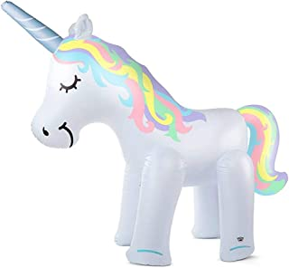 Heptern Summer Sprinkler Toy Inflatable White Horse Knight Sprinkler Toy PVC Approx 77.9569.6931.50 in for Children Kids Outdoor