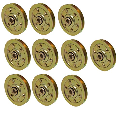 Garage Door Pulley 3 inch Extra Heavy Gold Sheave Wheel Pulleys for Extension Spring - 10 Pack