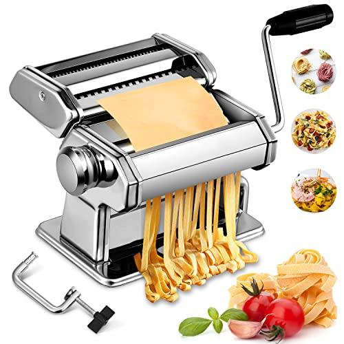 Pasta Maker, CYCYMAN Manual Pasta Maker Machine, 7 Adjustable Thickness Settings Noodle Maker, Perfect for Homemade Fresh Spaghetti, Fettuccini,Angel Hair,Lasagna or Dumpling Skins