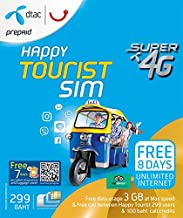 DTAC Happy Touris SIM 3 GB non-stop for 8 day and 100 THB credit for using in Thailand only