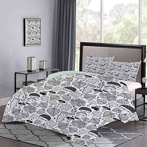 Juego de ropa de cama de con elementos ecológicos de la naturaleza, patrón de bosque, composición de garabatos en blanco y negro, juegos de cama para niños que dan un sentido feliz y acogedor a la hab